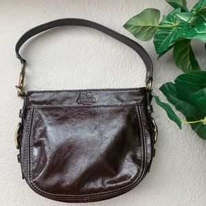 Coach Patent Shiny Leather Brown Shoulder Bag